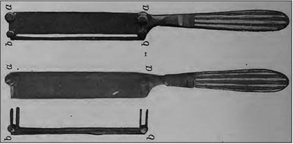 چاقوی هافمن با درب محافظ، a) چاقو با محافظ b ) چاقو و محافظ جدا شده از هم